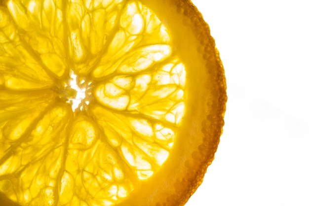 Slice of lemon with white background