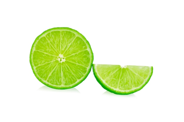 Slice lime isolated on white background