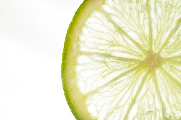 Slice of lime with white background