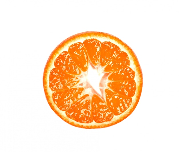Slice of mandarin isolated on white space. citrus fruits. pieces of fresh mandarin, with clipping path. top view