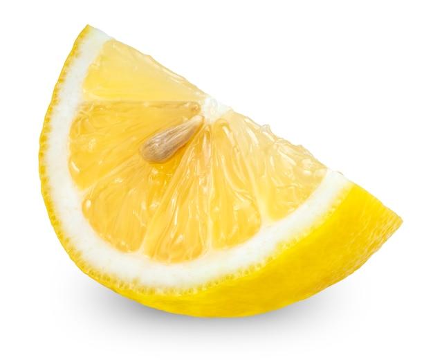 クリッピングパスと、白い背景で隔離のレモン、白い背景の上のレモンフルーツのスライス。