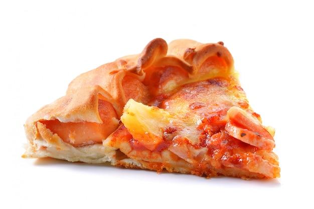 分離された白のピザのスライス