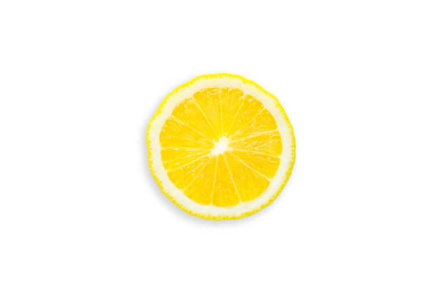 Slice of organic lemon on white isolated  with clipping path.