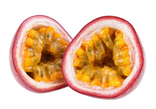 Slice passion fruit isolated on white background.
