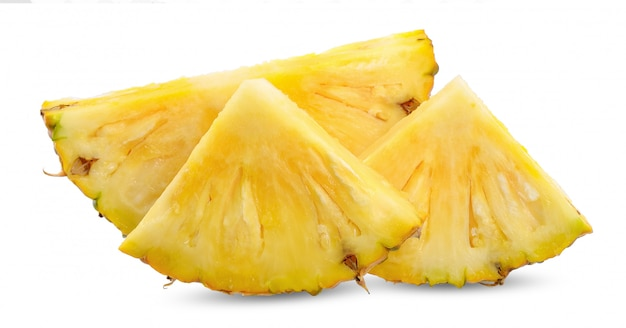Slice pineapple isolated on white clipping path