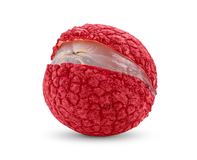 白い壁にピンクのグアバ果実をスライスします。