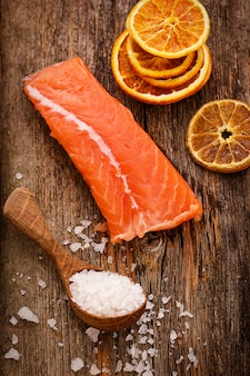 Slice of raw salmon