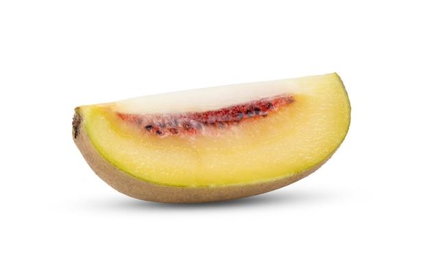 Slice red kiwi fruit isolated