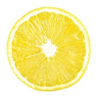 白で熟したレモンの柑橘系の果物をスライスします。