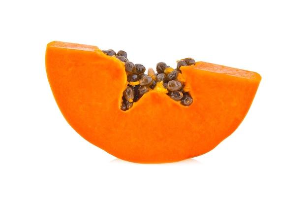Slice ripe papaya isolated on white background