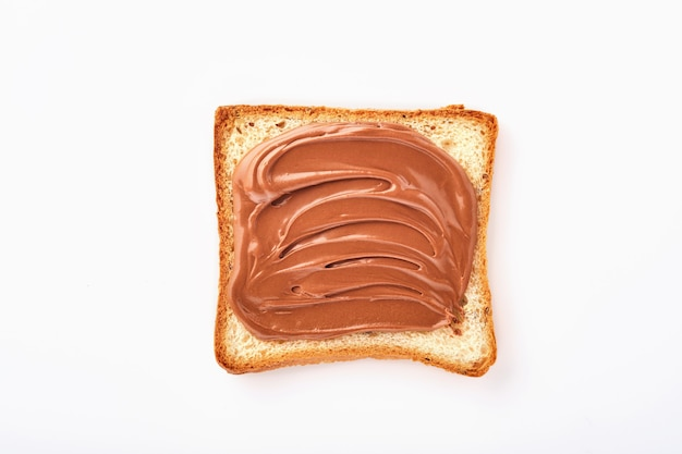 Slice of toast with chocolate cream with hazelnut isolated on white background with clipping path