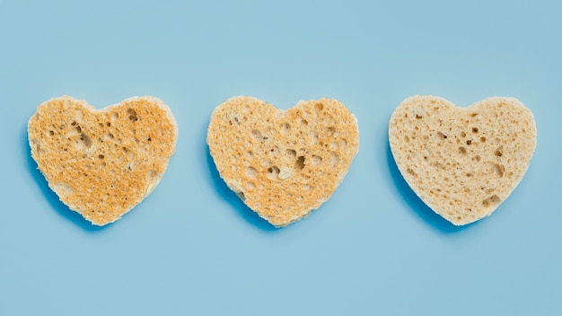 Slice of toasted bread with heart shape