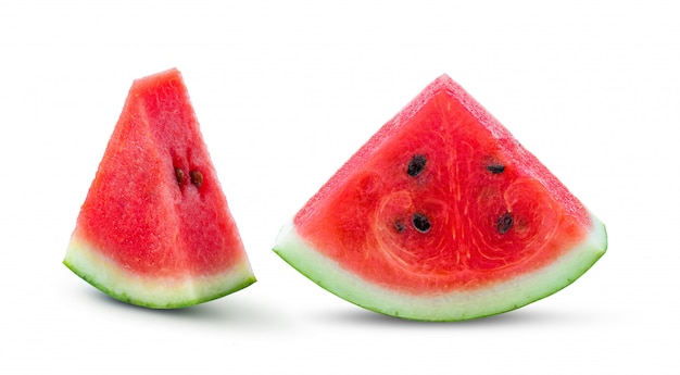 Slice watermelon on a white wall