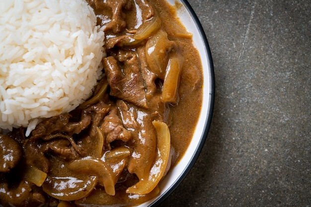 Sliced beef curry rice