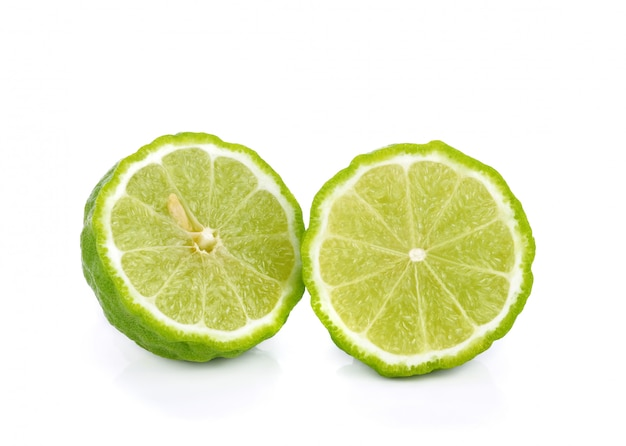 Sliced bergamot isolated on the white
