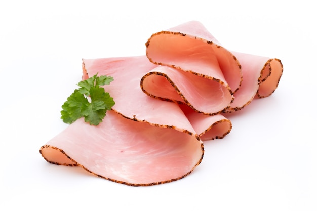 Sliced boiled ham sausage isolated on white background