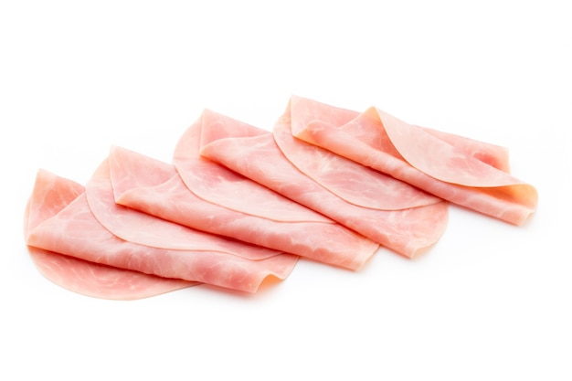 Sliced boiled ham sausage isolated on white isolated, top view.