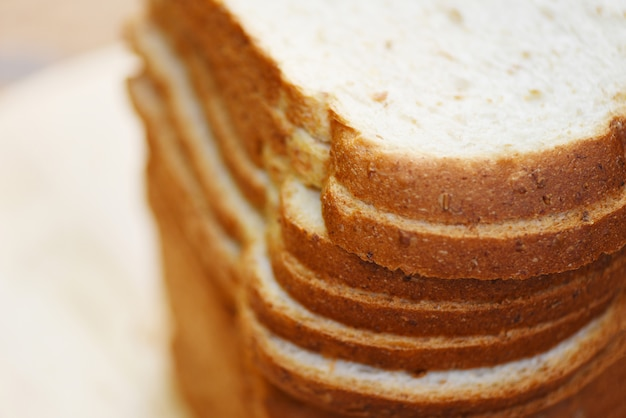 Sliced bread close up top view