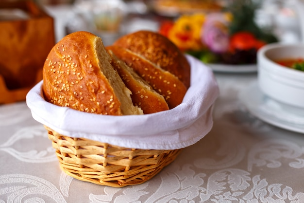 Sliced bread is a basket on the table