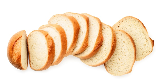 Sliced bread top view on a white background. isolated