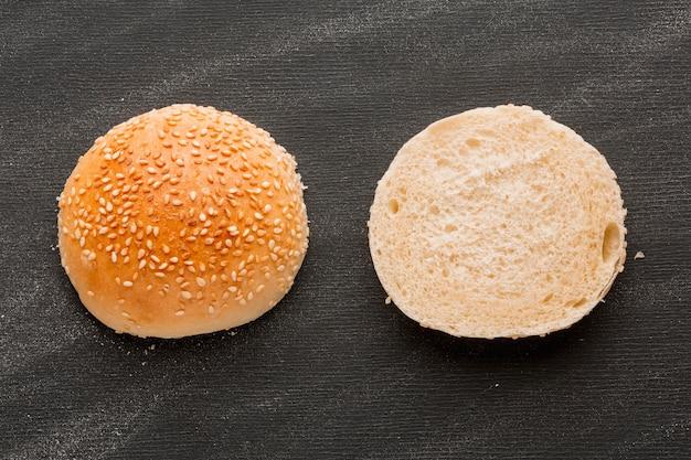 Sliced bun with sesame seeds