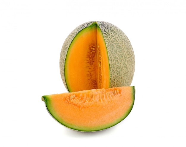 Sliced cantaloupe melon isolated