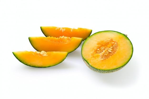 Sliced cantaloupe melon path isolated.
