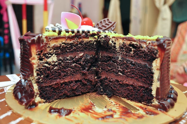 Sliced chocolate layer cake on a platter
