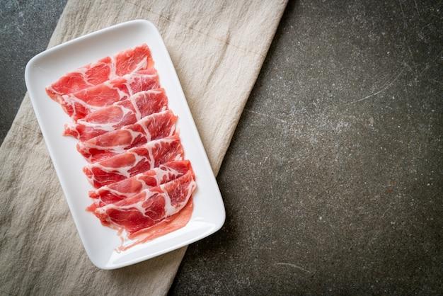 Sliced collar pork raw