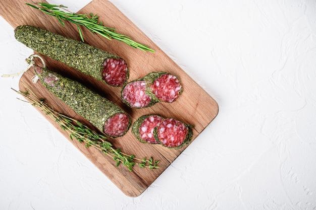 Sliced cuts of fuet salami sausage