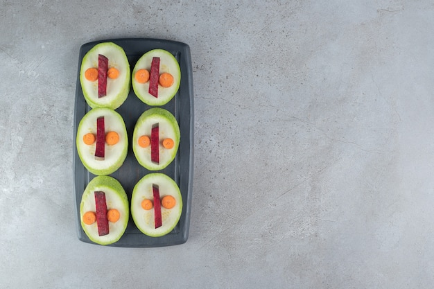 Sliced delicious vegetables on a gray background. high quality photo