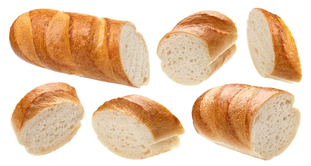 Sliced french baguette isolated on white background