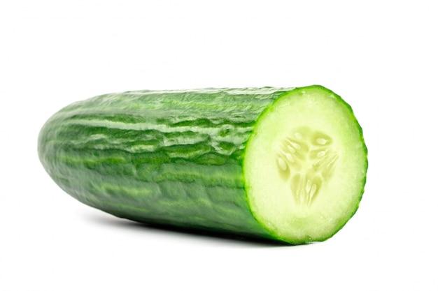 Sliced fresh cucumber isolated on white