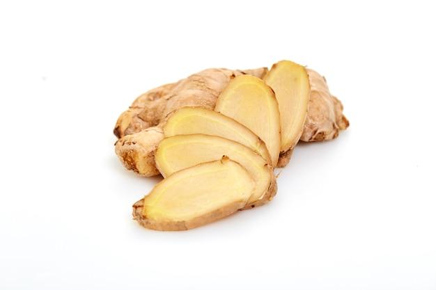 Sliced fresh ginger root spice