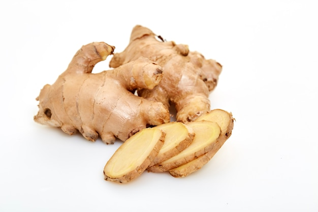 Sliced fresh ginger root spice