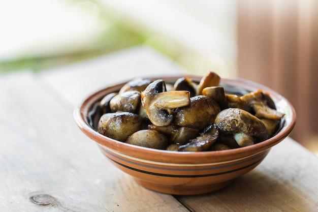 Sliced fried mushrooms