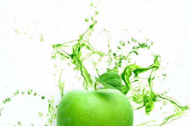 Sliced green apple fruit in a splash of lettuce juice