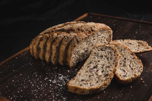 Sliced grey grain bread