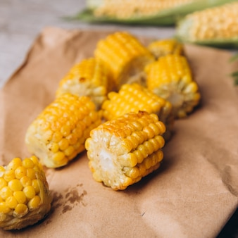 Sliced grilled corn on rustic