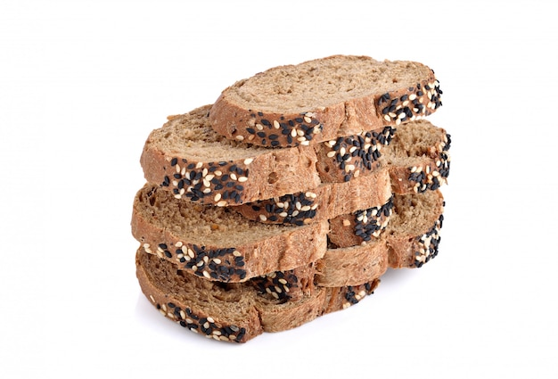 Sliced homemade brown bread isolated