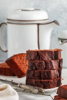 Sliced homemade chocolate pound cake loaf. delicious dessert.