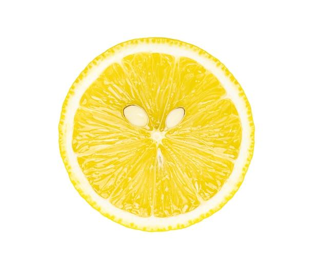 白い背景で隔離のスライスレモン