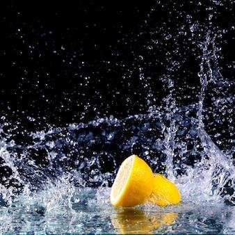 Sliced lemon in the water