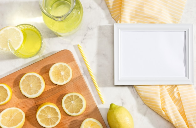Sliced lemons with white copy space