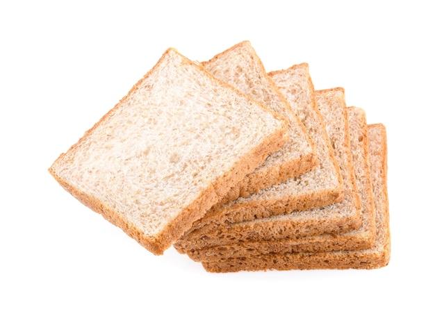흰색 절연 통 밀 빵 슬라이스