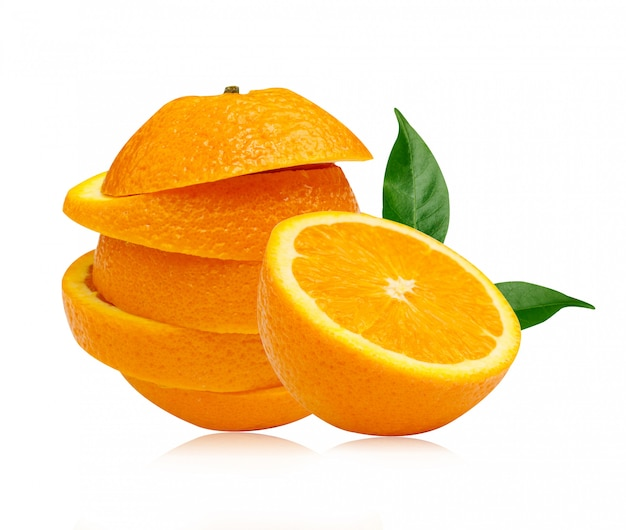 Sliced orange fruit with leaves on white background