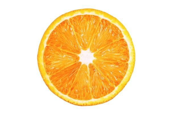 白い背景で隔離のスライスしたオレンジ。完全な被写界深度。ペンツールでカット...
