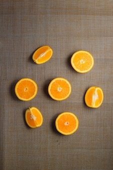 Sliced orange. organic fruits. healthy concept. top view.