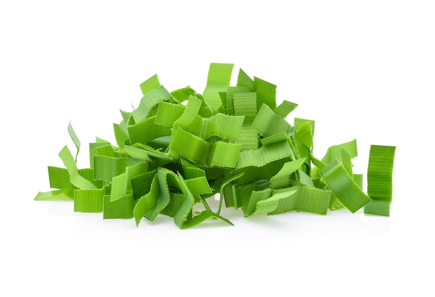 Sliced pandan leaves isolated on white background