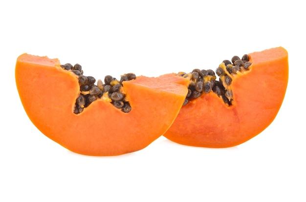 Sliced papaya isolated on white background